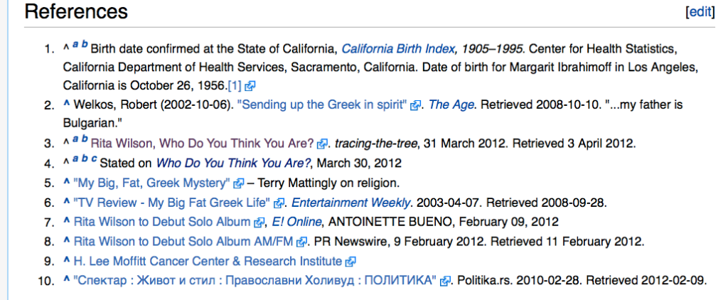 Rita Wilson Wikipedia Page References